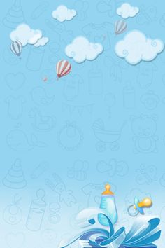 Mother And Baby Blue Sky And White Clouds Poster Background Helium Balloon