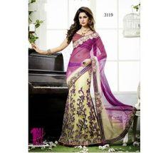 Special Work On Purple And Cream Net Lehenga Saree