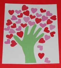 Trace hands, use foam hearts color in hand.