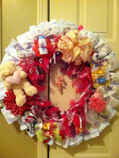 Diaper Wreath: The Inner Ribbon part is a second wreath that detaches and serves as a decoration for the baby's room