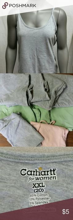 🔴XXL Carhartt tanks Grey & Sea Foam Green In great condition  I have 3 grey tank tops left & 2 Sea Foam Green tank tops left  $4 each Comment the quantity & color of what you'd like and I'll make sure it's still available :) Carhartt Tops Tank Tops