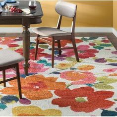 The Floral Multi-Printed Area Rug will add a splash of color to your dorm! [Promotional Pin]