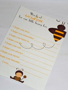 PRINTABLE Bumble Bee Baby Shower Wishes and by MySentimentsInvites, $8.00