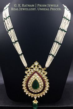 Used Sterling Silver Jewelry Pendant Set, Pendant Jewelry, Beaded Jewelry, Glass Jewelry, Jewlery, Antique Jewellery Designs, Gold Jewellery Design, Kundan Jewellery Set, Rajputi Jewellery