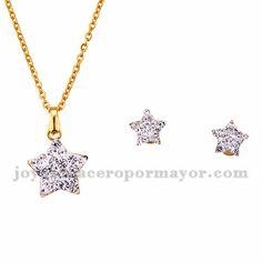 juego collar y aretes de estrella brillante en acero dorado inoxidable…