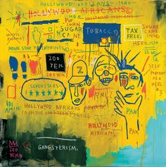 Jean-Michel Basquiat, Hollywood Africans, 1983. Synthetic polymer and mixed media on canvas, 84 × 84 in. (213.4 × 213.4 cm). Whitney Museum of American Art