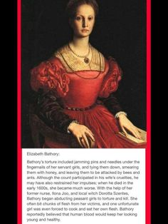 The legend of the infamous Countess Elizabeth Bathory of Hungary is well known in annals of horrific history. She lived during the Century and was Creepy But True, Creepy Stuff, Elizabeth Bathory, The Devil's Advocate, Scary Stories, Color Of Life, Women In History, Serial Killers, Weird Facts