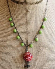 Fanta Raspberry Bottle Cap Necklace