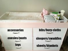 Baby Alex's Pink and Grey Nursery Reveal. Nursery dresser layout and organization