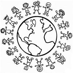 World Thinking Day mandala coloring page Free Printable Coloring Pages, Coloring Book Pages, Coloring Pages For Kids, Coloring Sheets, Earth Day Coloring Pages, Around The World Theme, Kids Around The World, Children's Day Craft, International Children's Day