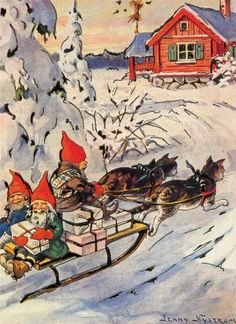 Tomtens delivering packages in their cat-drawn sleigh ~ artist Jenny Nystrom #art #illustration