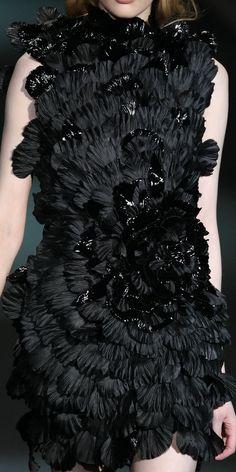 Dark Romance - dramatic black petal dress with matte & gloss texture detail; close up couture; fashion details