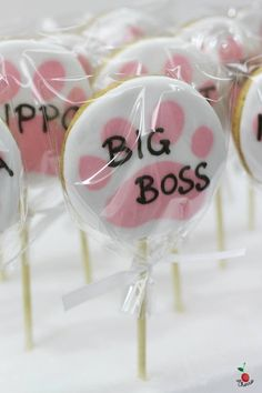Cookie Pops Icing cookies with customized design Cat paws with names Best for farewell