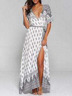 #Valentines #AdoreWe #Dresslily - #Dresslily Surplice High Slit Paisley Maxi Dress - AdoreWe.com