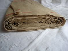 antique french natural hemp fabric with red stripes by sissidavril, $22.00