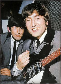 1964 - George Harrison and John Lennon in A Hard Day's Night film (backstage photo).
