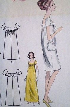 1960s SIZZLING PATOU SLIM EMPIRE DRESS PATTERN STRIKING SQUARE LOW NECKLINE VOGUE PARIS ORIGINAL 1626
