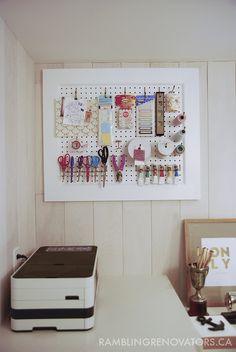 Rambling Renovators | pegboard | craft organization | home office