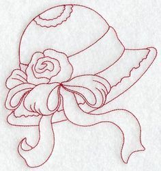 Victorian Hat 5 (Redwork) design (C2699) from www.Emblibrary.com