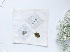 Bridal Handkerchiefs with Appliquéd Flowers, Set of 2 Vintage Hankies