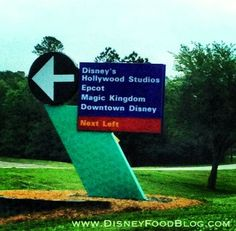 Walt Disney World Street sign for Epcot, Magic Kingdom, Downtown Disney, Disney's Hollywood Studios