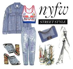 """""""NYFW Street Style: Day Two"""" by san-yay ❤ liked on Polyvore featuring Ashish, Topshop, Moschino, Gucci, Chanel, StreetStyle and NYFW"""