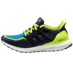 Adidas Ultra Boost Mens AQ4002 Solar Slime Navy Primeknit Running Shoes Size 8.5