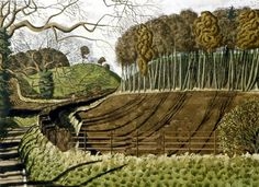 """River Ure Valley"" by Simon Palmer (ink, watercolour and gouache) Landscape Art, Landscape Paintings, Art Advisor, Wood Engraving, Painting Inspiration, Painting & Drawing, Countryside, Illustration Art, Landscape Illustration"