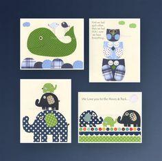 Baby boy room decor, Nursery wall art, Art for Kids, elephant, owl, whale, Set of 4 8x10 prints, navy Blue Green. $65.00, via Etsy.