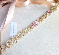 Ombre Blush Crystal Bridal Belt- Custom- Swarovski Crystal Bridal Sash- One-of-a-Kind Hand-Beaded -Vintage Glamour