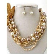 Champagne Mix Pearl Multi-strand Necklace Set $14.99