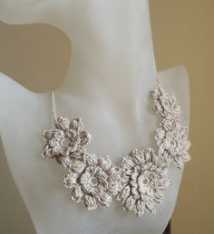 Free form flower  crochet necklace linen color