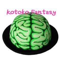 原创独家手绘熒光綠色大脑 呢料圆形小礼帽 猎奇-淘宝网