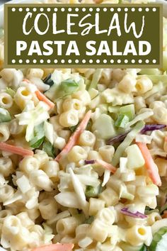 Coleslaw pasta salad is a delicious twist to traditional pasta salad. Loaded with texture, taste, and fabulous crunch. This is the perfect side dish for a summer bbq, picnic, or potluck! It can be made ahead of time too. Cold Side Dishes, Healthy Side Dishes, Side Dish Recipes, Slaw Recipes, Pasta Salad Recipes, Homemade Macaroni Salad, Bbq Salads, Coleslaw Salad, Pasta Sides