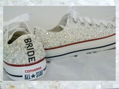 80c17bffc Luxury pearl sparklers   All over converse   Bridal by CindersWish  Badazzled Converse