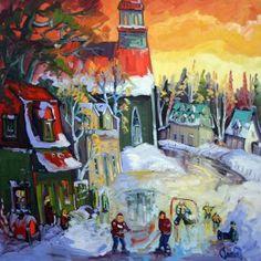 Ciel lumineux d'hiver au village par Normand Boisvert 30 x 30 / Huile sur toile  #Quebec #Toile #¨Peinture #Painting #Art #Artist #paysage #hiver #winter #landscape Expositions, Land Scape, Painting, Ciel, Oil On Canvas, Normandie, Artist, Painting Art, Paintings
