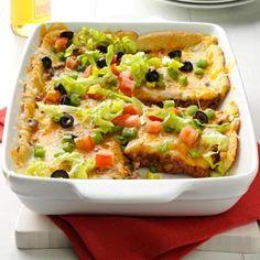 Burrito Bake Recipe from Taste of Home -- shared by Taste of Home -- shared by Cindee Ness of Horace, North Dakota