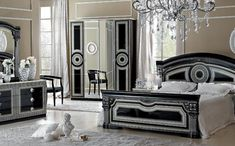 Black and Silver Bedroom Set. Black and Silver Bedroom Set. Aida Black W Silver Camelgroup Italy Classic Bedrooms Bedroom Panel, Black And Silver Bedroom, Bedroom Lighting Diy, Italian Bedroom, Classic Bedroom, Bedroom Design, Silver Bedroom, Italian Bedroom Sets, Silver Bedroom Furniture