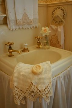 Lovely pale yellow bathroom sink                                                                                                                                                                                 More