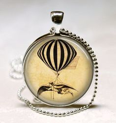 Hot Air Balloon Necklace, Steam Punk Jewelry, Steampunk, Vintage Hot Air  #Handmade #Pendant