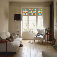Stained glass window -- Apartment Therapy - Love this Living Etc, My Living Room, Living Spaces, Faux Stained Glass, Stained Glass Windows, Mosaic Windows, Mosaic Mirrors, Mosaic Wall, Piece A Vivre