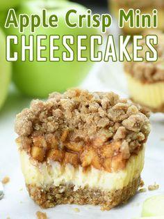 Finger Desserts, Fall Desserts, Just Desserts, Delicious Desserts, Yummy Food, Healthier Desserts, Mini Desserts, Fun Food, Apple Crisp Cheesecake