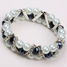 White Beads & Black cheap beads.Crystal Glass Elastic Bracelet cheapest uk.