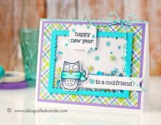 Lawn Fawn Winter Owl shaker card for new years! PPP sequins. Blog Hop. Card by Wanda Guess