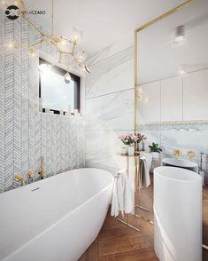 Łazienka jasna 4 m kw. Styl nowoczesny.   Bathroom Renos, Bathroom Interior, A Frame House, Clawfoot Bathtub, New Homes, Interior Design, Space, Home Decor, Bathrooms