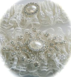 Wedding Garter in Chantilly Beaded Lace with Rhinestone and Pearl Applique and Something Blue