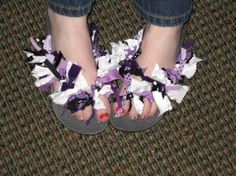 Make your own ribbon flip flops! We offer tips and examples of what you can do to spice up your flip flops with ribbon and fabric. Ribbon Flip Flops, Ribbon Retreat, School Colors, Paper Roses, Spice Things Up, Activity Ideas, Craft Ideas, Cool Kids, Hair Accessories