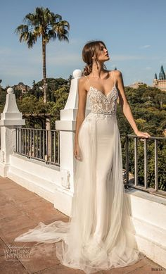 "berta fall 2019 muse bridal spaghetti strap diamond neckline heavily embellished bodice sexy elegant sheath wedding dress a line overskirt backless chapel train mv -- MUSE by Berta 2019 ""Barcelona"" Wedding Dresses Wedding Inspirasi V Neck Wedding Dress, Long Wedding Dresses, Tulle Wedding, Designer Wedding Dresses, Bridal Dresses, One Shoulder Wedding Dress, Wedding Gowns, Wedding Dress Sheath, Unique Wedding Dress"