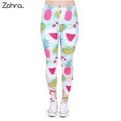 Zohra Fashion Casual Woman Legins Tropical Fruits Printing High Waist Legging Women Slim Leggings #Affiliate