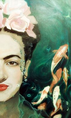 thegreenerthebetter: Here's a sneak peek of the Frida painting. With only a couple of days left to work on this, I could definitely use Frida's prowess right now.